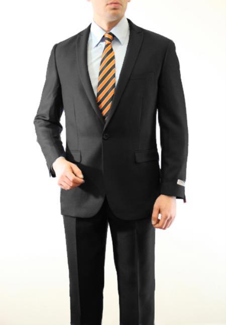 SKU#PGB785 Mens 1 Button Front Closure Slim Fit Peak Lapel Ton on Ton Herringbone Shadow Patterned Suit Black $139