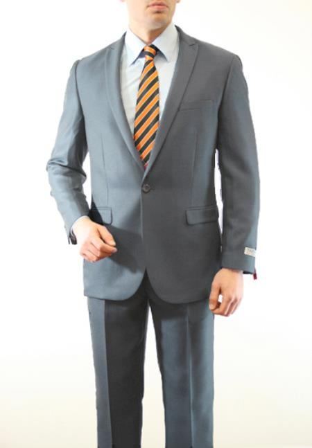 SKU#NRH930 Mens 1 Button Front Closure Slim Fit Peak Lapel Ton on Ton Herringbone Shadow Patterned Suit Grey $139