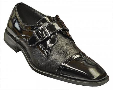 SKU#ERH678 Black Genuine Tumble Grain Italian Calf / Patent Leather Cap Toe Loafer Shoes $99