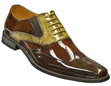 SKU#KFT783 Dark Brown / Chocolate / Beige Genuine Patent Leather Wingtip Shoes $99