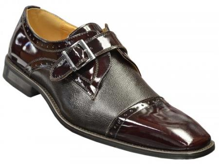 SKU#GJR351 Wine Genuine Tumble Grain Italian Calf / Patent Leather Cap Toe Loafer Shoes $99