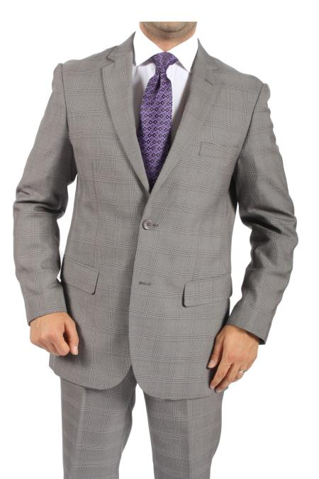 SKU#BR6288 Two Button Slim Fit Grey Plaid Men