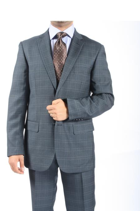 SKU#TQ9347 Two Button Slim Fit Grey Blue Window Pane Plaid Suit $115