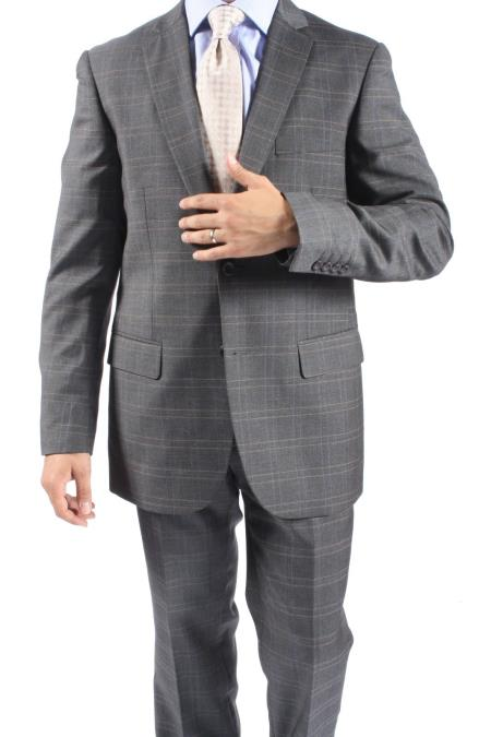 SKU#NR6381 2 Button Slim Fit Brown Window Pane Plaid Men