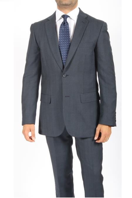 SKU#RG6377 2 Button Slim Fit Blue Subtle Plaid Men