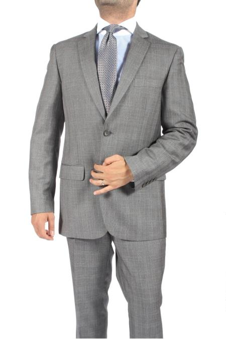 SKU#GR8724 2 Button Slim Fit Light Grey Subtle Plaid Men
