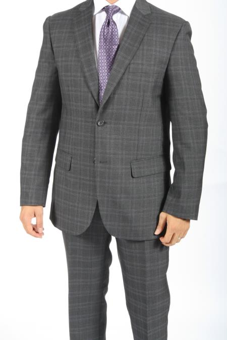 SKU#GS5377 2 Button Slim Fit Charcoal Plaid & Checks Men