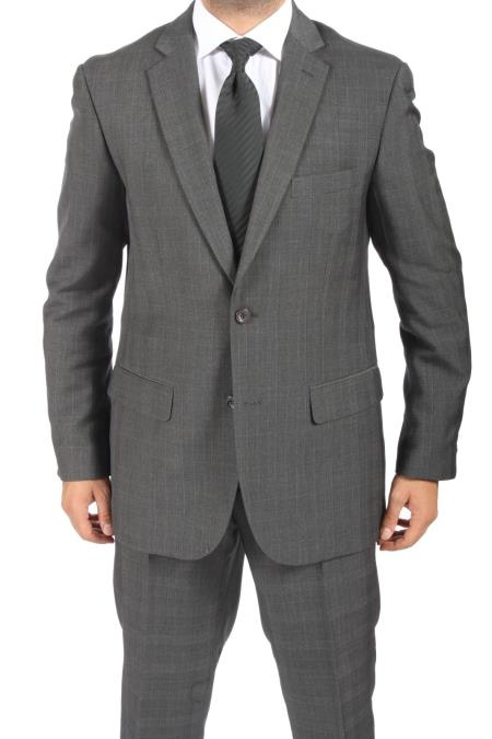 SKU#VR3826 2 Button Slim Fit Charcoal Subtle Plaid Mens Suit $149