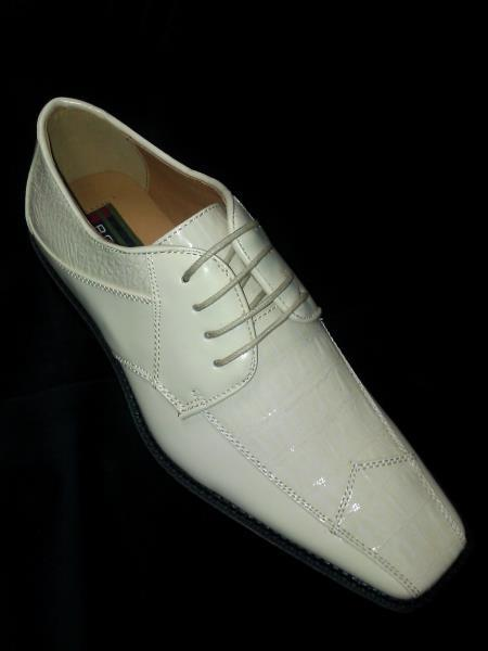 MensUSA.com Comfortable Ivory Off White Cream Lace up Dress Shoe (Exchange only policy) at Sears.com
