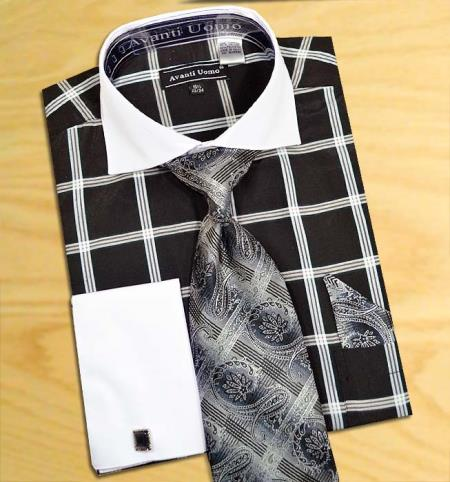 SKU#PJ4M2 Black / White Windowpanes Design Shirt / Tie / Hanky Set with Free Cufflinks $65
