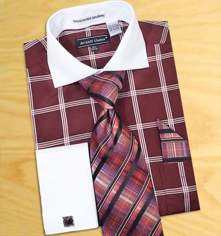 MensUSA.com Burgundy White Windowpanes Design Shirt Tie Hanky Set with Free Cufflinks(Exchange only policy) at Sears.com