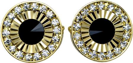 SKU#70CC Gold Plated Round Cufflinks Set with Black Enamel & Rhinestone $29