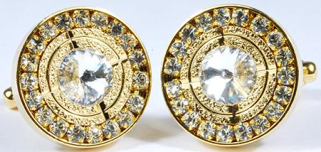 SKU#9DDU Gold Plated Round Cufflinks Set with Clear Rhinestone $29