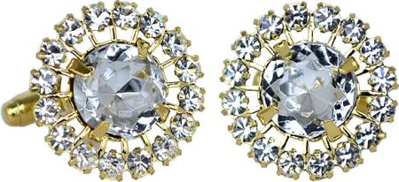 SKU#9CY Gold Plated Round Cufflinks Set with Large / Small Clear Rhinestones $29