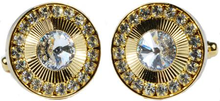 SKU#6NM3 Gold Plated Round Cufflinks Set with Rhinestone $29