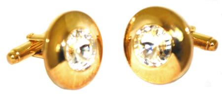 SKU#G6V Gold Plated Round Cufflinks Set with Swarovski Crystal in the Center $29