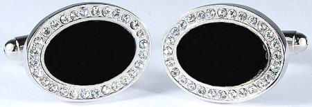 SKU#6JNR Silver Plated Oval Cufflinks Set with Black Enamel and Rhinestone $29