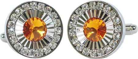 SKU#7LP2 Silver Plated Round Cufflink Set with Amber / Clear Rhinestones $29