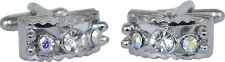 SKU#PL3G Silver Plated Semi Circular Cufflinks Set with Multicolored / Silver Rhinestone $29