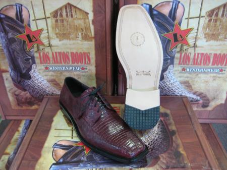 SKU#ET231 Mens Genuine Authentic Burgundy ~ Maroon ~ Wine Color Lizard Dress Shoe