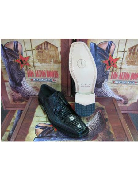 SKU#BL256 Mens Genuine Authentic Black Teju Lizard Dress Shoe