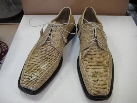 SKU#BE238 Mens Genuine Authentic ORYX Teju Lizard Dress Shoe $259