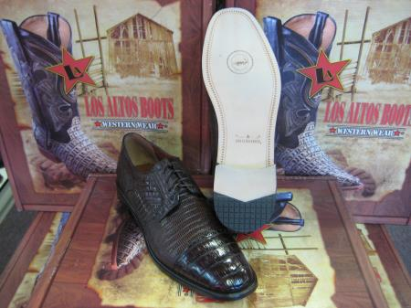 SKU#BL124 Mens Genuine Authentic Brown caiman ~ alligator Belly & Teju Lizard Dress Shoe