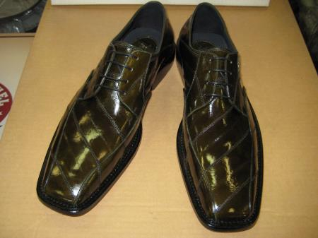 MensUSA Mens Genuine Authentic Olive Green Eel Dress Shoe at Sears.com