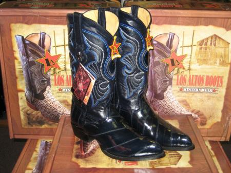 MensUSA.com Los Altos Navy Blue Genuine Eel Western Cowboy Boot(Exchange only policy) at Sears.com