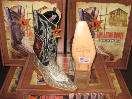 MensUSA.com Los Altos Square Natural Cobra Head Snake Skin Western Cowboy Boot(Exchange only policy) at Sears.com