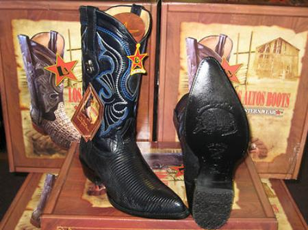 MensUSA.com Los Altos Navy Blue Genuine Lizard Ring Western Cowboy Boot(Exchange only policy) at Sears.com