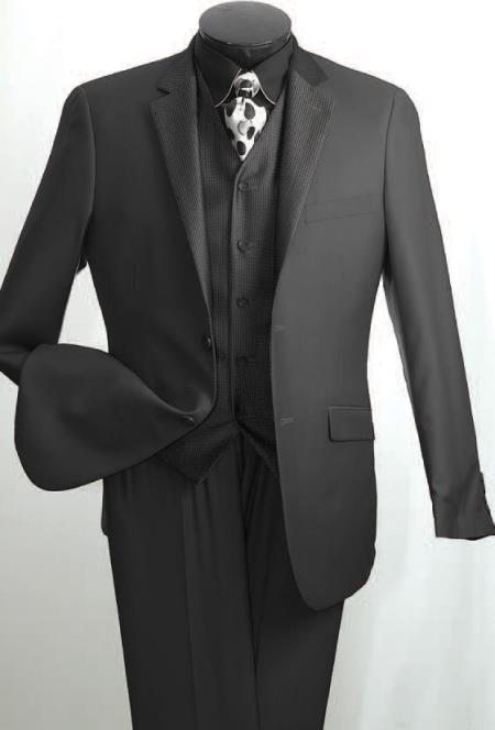SKU#4PL1 Mens 3 Piece Slim Suit - Subtle Mini Check Black $175