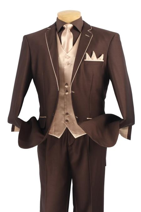 SKU#RH8A Mens 5 Piece Tuxedo Elegance Suit - Fancy Trim Brown with Champagne $595