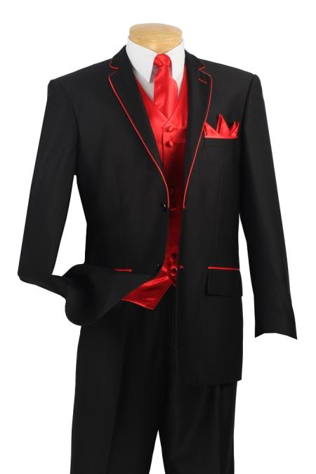 SKU#RH8A Mens 5 Piece Tuxedo Elegance Suit - Fancy Trim Black with Red $595