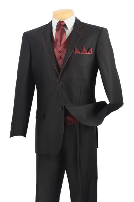 SKU#9SC2 Mens 5 Piece Fashion Elegance Suit - Fancy Trim Black with Burgundy ~ Maroon ~ Wine Color $225