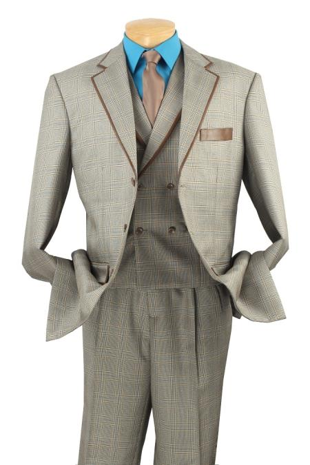 MensUSA Mens 3 Piece Wool Feel Fashion Suit Double Breasted Vest Beige at Sears.com