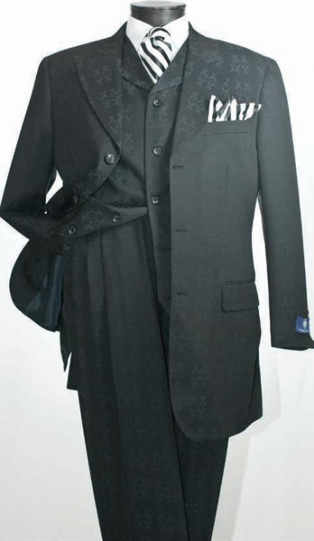 MensUSA.com Mens 3 Piece Fashion Suit Wide Peak Lapels Black(Exchange only policy) at Sears.com