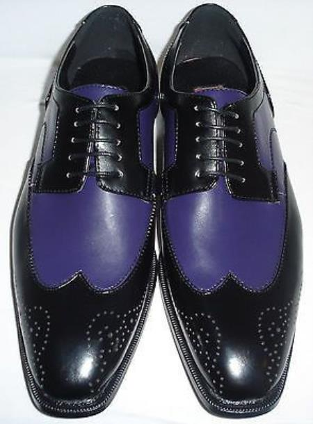 SKU#VS6729 Mens Exotic Faux Eel Print Oxford Dress Shoe in Purple and Black $125