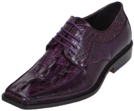 SKU#KA6720 Mens Purple Dress Shoe Exotic Croc Print Oxford $125