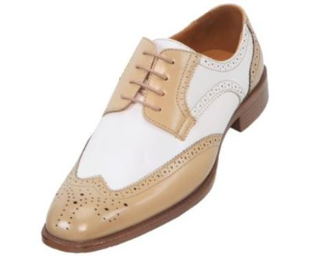 SKU#WH7494 Mens Two-Toned Oyster and White Classic Smooth Dress Shoe with Wing-Tip $125