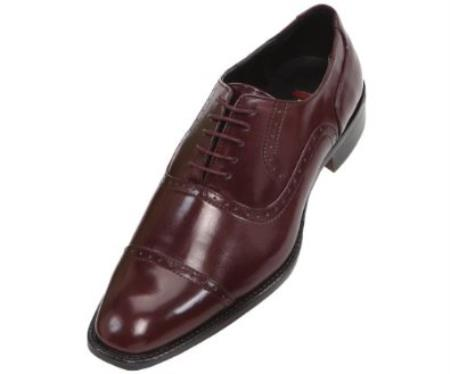 SKU#VK7834 Mens Burgundy ~ Maroon ~ Wine Color Oxford Dress Shoe $125