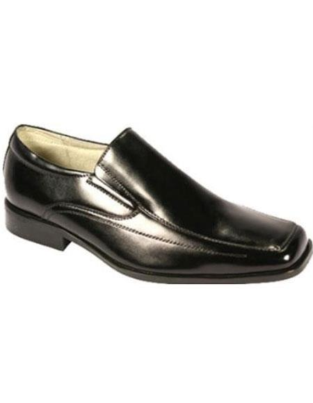 SKU#KR7511 Mens Moc Toe SR Dress Loafers Black