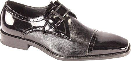SKU#MR9489 Mens Cap Toe Monk Strap Shoe Black $65