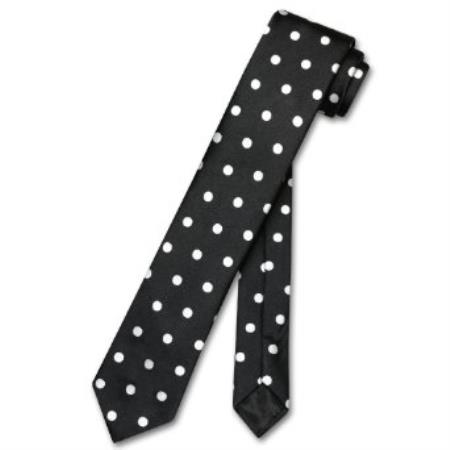 "SKU#AK5628 Skinny Black w/ White Polka Dots Mens 2.5"" Thin Neck Tie $39"