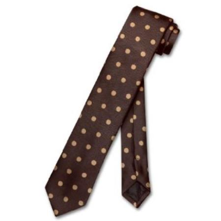 SKU#TR6299 Skinny Chocolate Brown w/ Light Brown Polka Dots 2.5