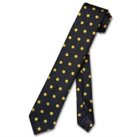 SKU#HK8399 Narrow NeckTie Skinny Black w/ Yellow Polka Dots Mens 2.5
