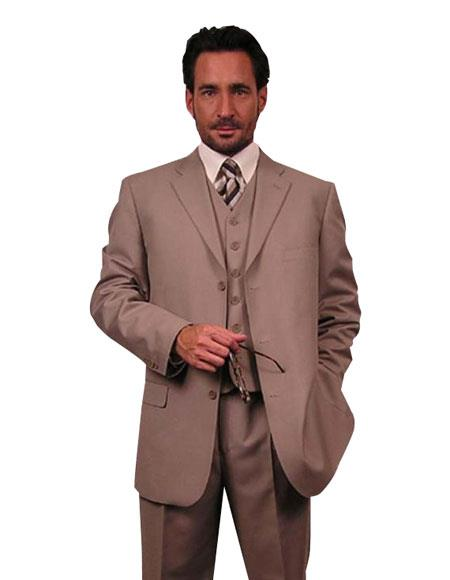 Super 110s Extra Fine Premier Quality Online Sale Clearance Wool Feel Poly~Rayon 3PC Vested three piece Available in 2 or Three ~ 3 Buttons Style Regular Classic Cut suit $139 (Wholesale price $95 (20PC&UPMinimum))