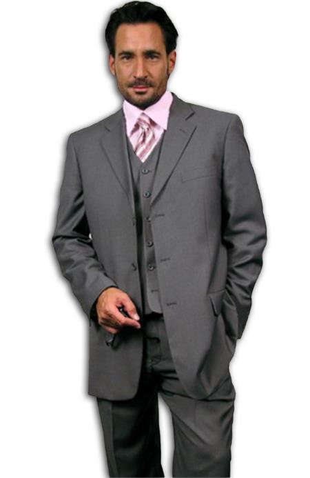 "SKU# Emily_Coper 3 Button Gray~Grey three piece suit Vested three piece suit 3 Piece three piece suit in Super 110s Wool~Feel ""Poly~Ray"