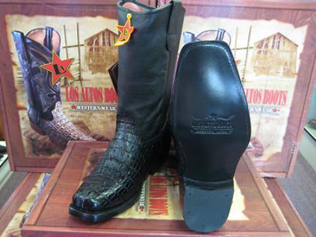 MensUSA.com Los Altos Black Crocodile Tail Western Cowboy Biker Motorcycle Boot(Exchange only policy) at Sears.com
