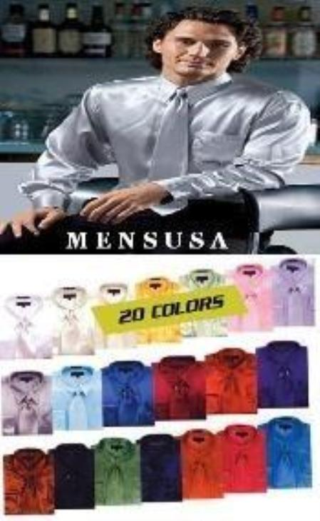 SKU#WN9370 Shiny Silky Satin Dress Shirt/Tie Combo Available in All Colors $59